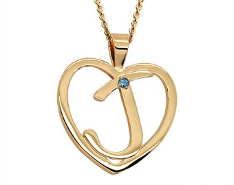 Heart Initial Necklace, 14K Gold Initial Birthstone Necklace, Heart Birthstone Necklace, Heart Necklace Gold, Custom Initial Necklace