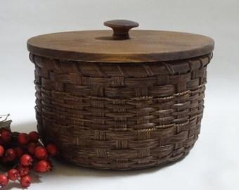 Storage Basket- Basket with a Lid- Paper Plate Basket-Fruit Basket-Handwoven Basket