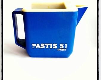 "french vintage blue plastic pitcher ""Pastis 51 """