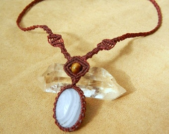 Blue Lace Agate Necklace in Wine Micro Macrame Fiber