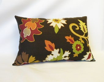 Fall Autumn Decor Lumbar Pillow - Accent Throw Pillow - Floral Leaf Design 18 x 12 Turquoise, Brown, Gold, Rust, Burnt Orange