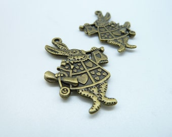 10pcs 25x36mm Antique Bronze Bouble size Mr. Rabbit Jazz Alice Charm Pendant c3973