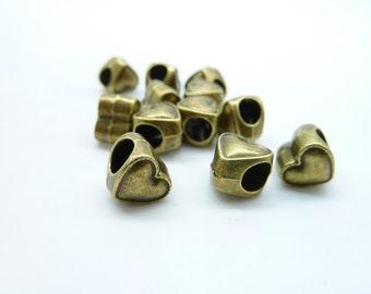 30pcs 7x8x8mm-4mm Antique Bronze Heavy Mini Heart Spacer Charm Pendant c4037