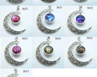 Antique Silver Moon Necklace, Crescent Moon Necklace, Nebula Galactic Cosmic Moon, Dream Discover, Friendship, Graduation Gift N718236