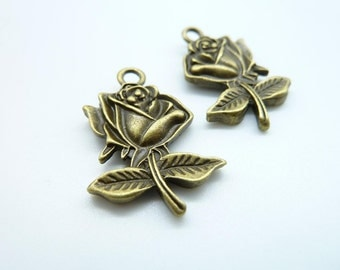 10pcs 20x30mm Antique Bronze Heavy Double Side  Rose Flower Charm Pendant c4218