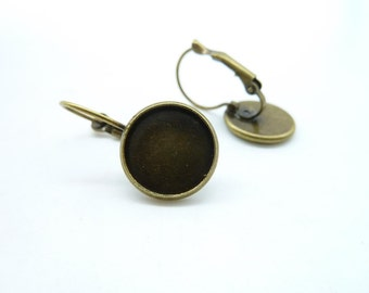 10pcs 12mm GBB Pad Antique Bronze Brass Round Cameo Cabochon Base Setting French Earwires Hook C4604
