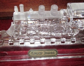 "MOTHERS DAY SALE Vintage Hofbauer Crystal ""Casey Jones"" Train Engine Collectible/Paperweight"