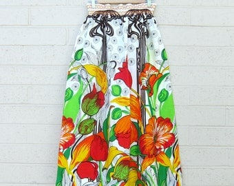 Vintage Floral Maxi Skirt Tulips Elastic Waist Small Medium Colorful
