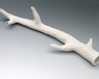Carved porcelain faux white branch with 3 side branches, faux bois, unglazed