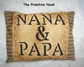 Primitive Folk Art Ticking Nana & PaPa Pillow by The Primitive Nook OFG Team FAAP Team