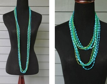 Vintage 60s 70s SEA COLORS Blue Green Multi-Strand Beaded Extra LONG Lariat Costume Jewelry Necklace