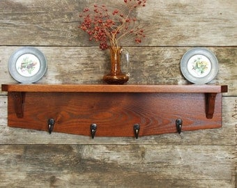 Vintage-Cherry Stained Hardwood Shelf, Coat Rack, Hat Rack, Wood Shelving, Coat Hooks, Plate Shelf