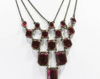 Necklace - Ruby Red Stones