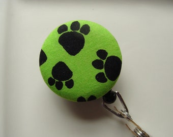 Retractable Badge Reel - Black Paw Prints on Lime Green