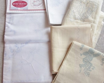 Lot Vintage Stamped LINENS for Hand  Embroidery