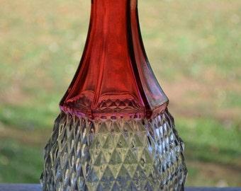 Cranberry Glass Diamond Pattern Decanter Bottle