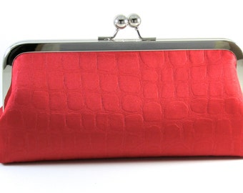 Red Clutch Purse - Evening Bag -  Silk Women's Handmade Handbag - Animal Print Metal Frame - Bagboy