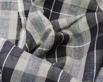 Pure  linen fabric with white natural gray and black checks-natural fabric-ecofriendly-soft 3M
