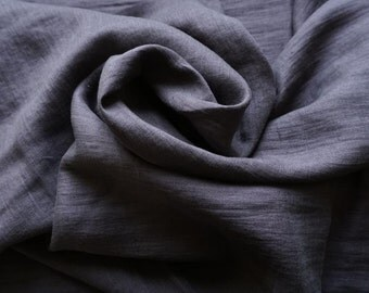 Pure linen fabric --charcoal  gray --apparel--light weigt