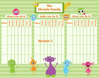 Customizable Reward/Chore Chart for Multiple Children - Silly Monsters -TWO VERSIONS  11x14 inches Printable Jpeg or PDF