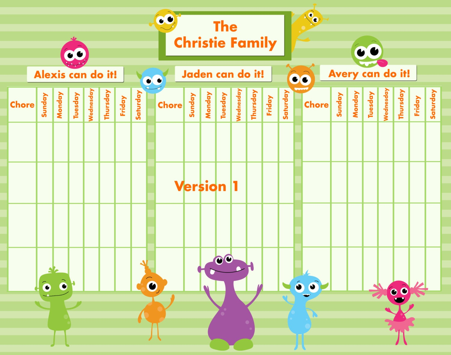 Customizable Reward/Chore Chart for Multiple Children Silly