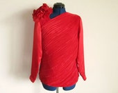 Long Sleeve Silky Red Vintage Blouse, Size 4, Sonya Ratay for San Andre, Small or Medium