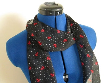 Vintage Black Red White Nautical Scarf with Polka Dots - 72 x 4
