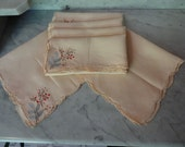 Peachy Pink Set of Six Embroidered Luncheon Vintage Napkins
