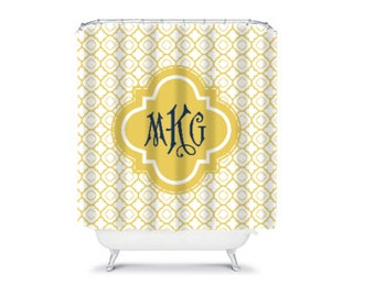 Personalized Shower Curtain  Monogram Shower Curtain  Quatrefoil Shower Curtain Design your Own