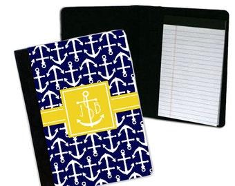 Personalized Notebook  Large Monogram Notebook   Personalized Padfolio - Nautical Anchor Notebook