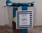 8 - Wedding Favor Boxes / Cupcake Boxes - Striped Label - ANY COLOR - wedding favors, wedding cupcake box, personalized favor box