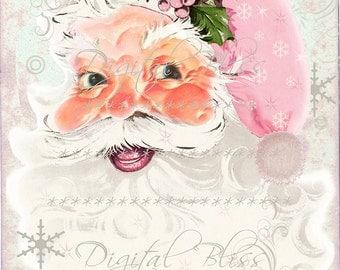 Pink Santa Tag Download Vintage Retro Santa Pink Shabby Chico Santa Large Image, Instant Download