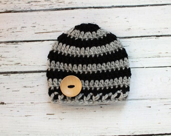 Crocheted Baby Button Hat - Black & Gray