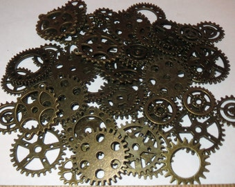"1/4 Pound, 1/2""- 1"" Gears 50+ Pieces Lot New Steampunk Watch Parts Clock Wheels"