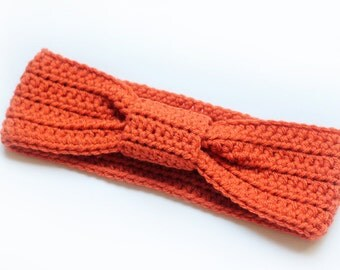 Bow Knotted Headband, Turban Headband, Ear Warmer, Wrap in Color Orange for Women