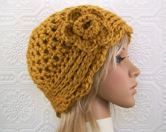 Crochet Cloche Hat - honey gold - chunky knit hat winter fashion women's accessories fashion handmade Sandy Coastal Designs ready to ship