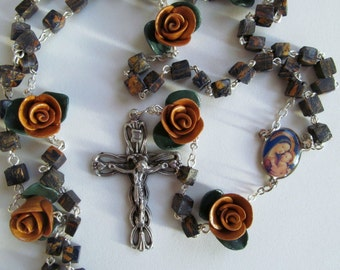 Our Lady of Good Counsel Rosary, clay, handmade