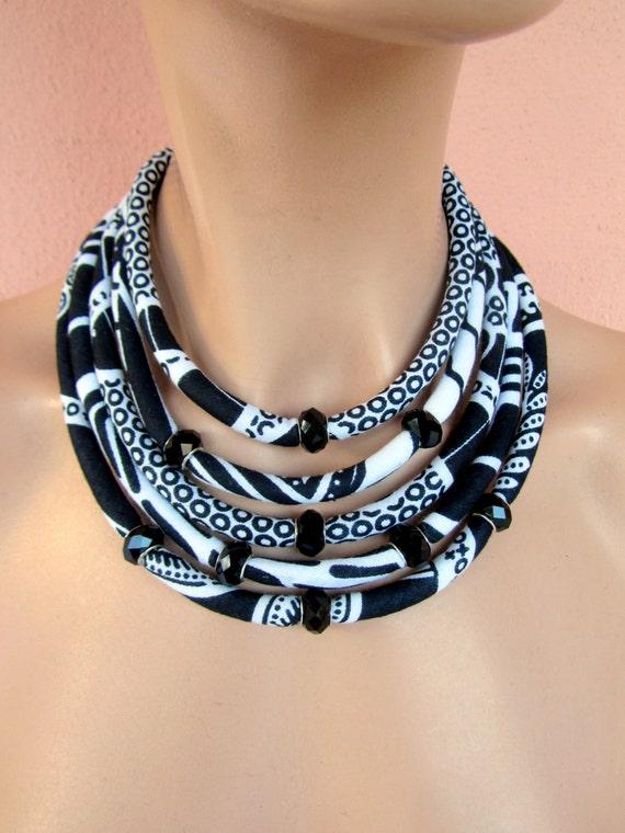 black and white necklace fabric necklace elegant jewelry