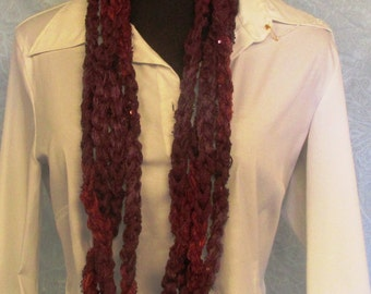 Burgundy Long Knotted Yarn Scarf Necklace Belt Sequined