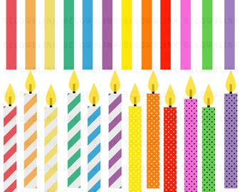Birthday Candles Digital Clip Art C ommercial Use - Instant Download ...