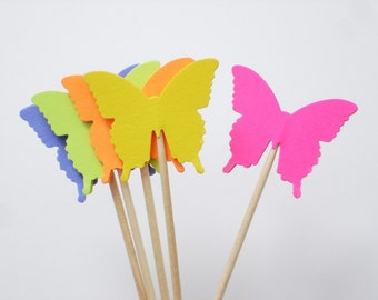 24 Bright Butterflies Party Picks, Cupcake Toppers, Food Picks, Toothpicks - No1061