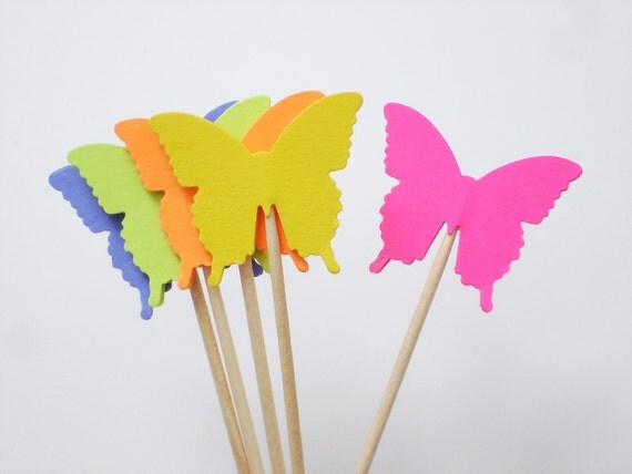 24 bright butterflies party picks cupcake toppers food picks