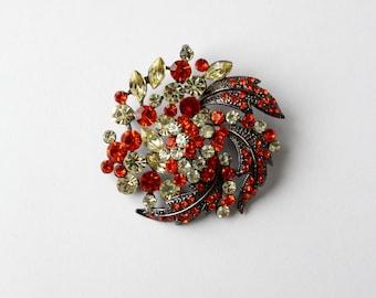 1960s rhinestone snowflake brooch, holiday pin