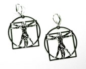 Vitruvian Man Earrings Leonardo da Vinci Necklace Architechure earrings  science necklace  science  art  Leonardo da Vinci