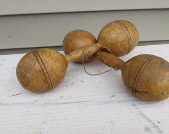 Vintage Wooden Dumbbells.