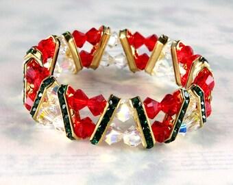 Swarovski Crystal Christmas Bracelet, Stretch Bracelet