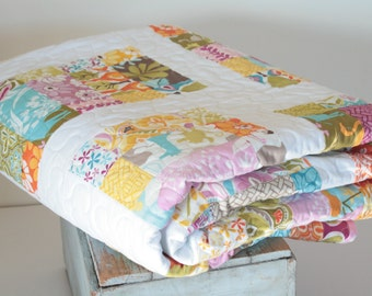 ModernToddler or Baby Quilt, Soft and Cozy Minky backing, Kate Spain Central Park fabric, Moda Fabric