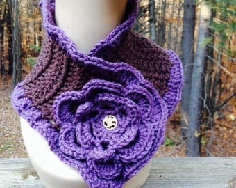 Purple and Brown Ruffle Scarf