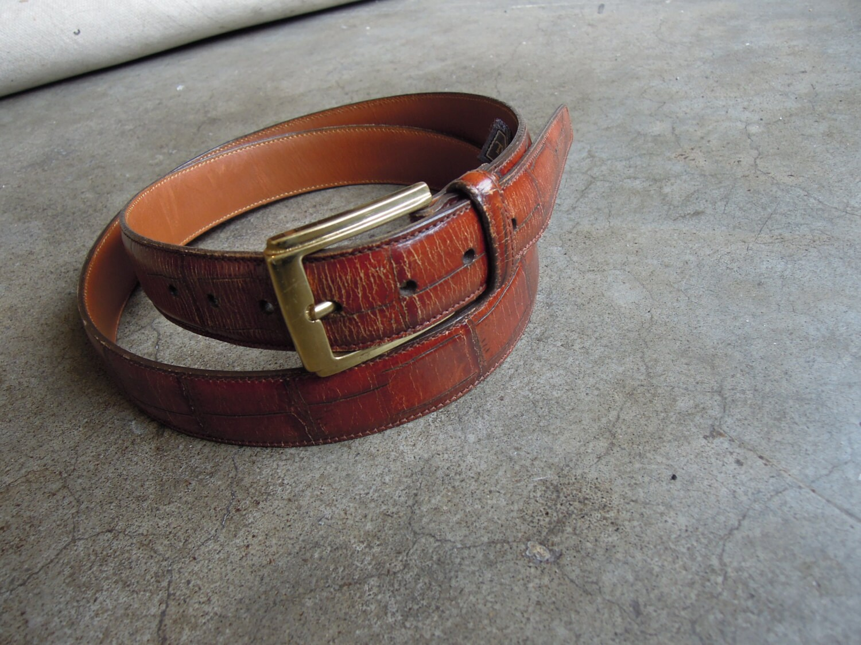 trafalgar alligator brown leather belt w solid brass buckle