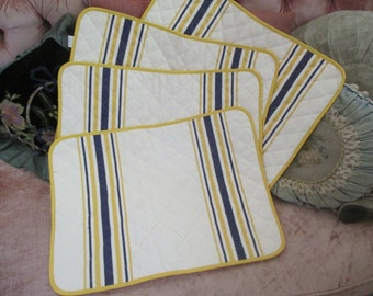 4 pc Quilted Vintage Blue Yellow White Stripe Basque French Beret's  Placemat Table Set  A28